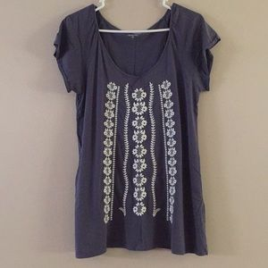 Garnet Hill Dusty Blue Cotton Embroidered Tee S